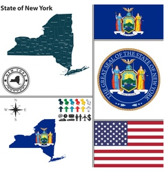Map of New York with seal vector image vector image