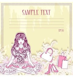 Message card with fashion girl in the lotus vector image vector image