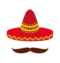 mexican hat and mustache culture symbol vector image vector image