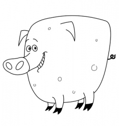 outlined pig vector image vector image