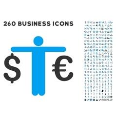 Person compare euro dollar icon with flat vector