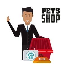 Pet shop with man design vector