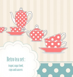 Polka dot tea set vector