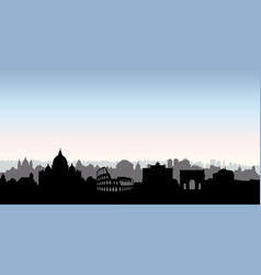 rome city buildings silhouette italian urban vector image