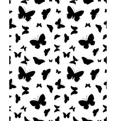 seamless silhouettes of butterflies vector image