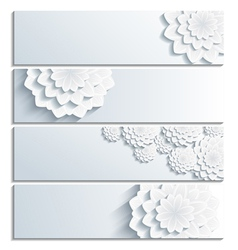 Set of banner with decorative 3d chrysanthemum vector image vector image