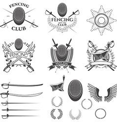 Set of fencing club labels vector