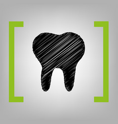 Tooth sign black scribble vector