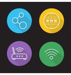 Wifi flat linear icons set vector