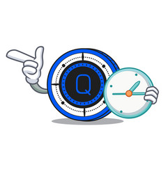 With clock qash coin character cartoon vector