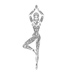 Yoga position meditation hand drawn background vector
