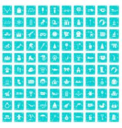 100 children icons set grunge blue vector image vector image