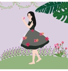 beautiful cute woman wearing dress with flowers vector image