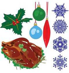 A collection of objects representing Christmas vector image