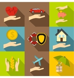 Insurance icons set flat style vector image