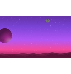 Outer space background with desert and planet vector image