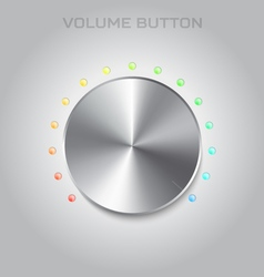 Volume settings button Metal or steel texture vector image
