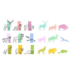 animals polygonal linear set vector image