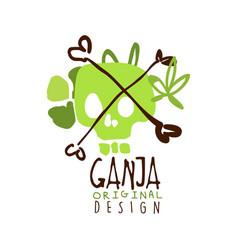 Ganja label original design logo graphic template vector