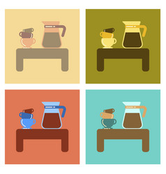 Assembly flat icons coffee cup of coffee table vector