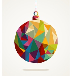 Merry Christmas circle bauble with triangle vector image