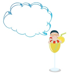 A young boy inside a glass with an empty cloud vector image