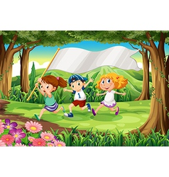 A jungle with three kids with an empty banner vector