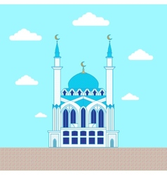 Mosque flat design building poster template vector