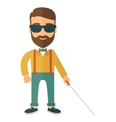 Blind man with walking stick vector