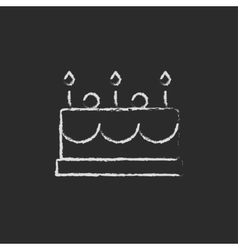 Birthday cake with candles icon drawn in chalk vector