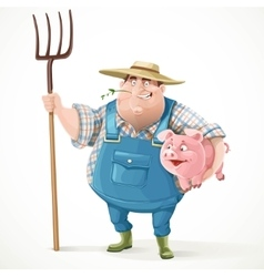 Thick old farmer in overalls and a straw hat vector