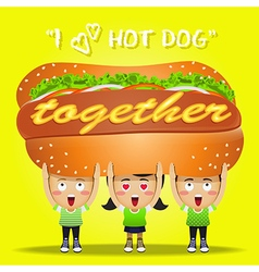 Happy people carrying big hot dog vector