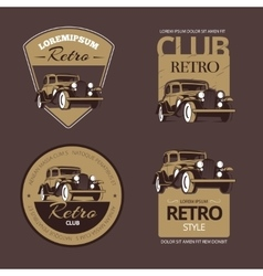 Classic retro cars Vintage labels set vector image