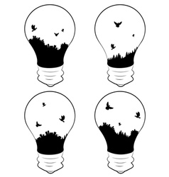 City in a lightbulb vector