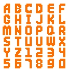 Alphabet abstract pixel art all letters and number vector