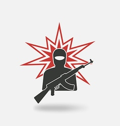 Terrorist with gun vector