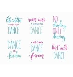 Dance studio quote lettering set vector