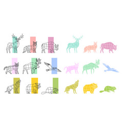 animals polygonal linear set vector image