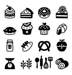 Bakery dessert icon set vector