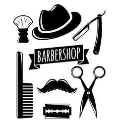 Barbershop accessory set vector image vector image