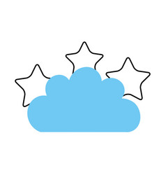 beautiful fantasy cloud with stars vector image vector image