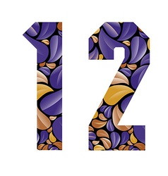Beautiful floral numbers 1 and 2 vector