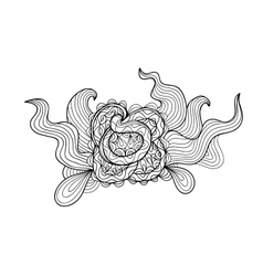 Black and white outline drawing Floral doodle vector image