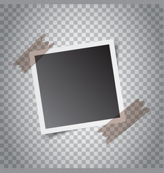 Blank retro photo frames with sticker on grey vector