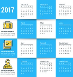 Calendar for 2017 year design stationery template vector