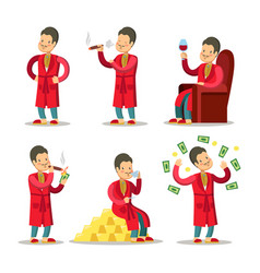 Cartoon rich man with money and cigar vector