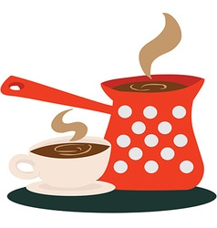coffee pot and a cup vector image