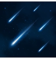 Comet shower in the starry sky abstract vector image