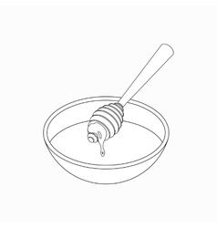 Dipper with honey icon isometric 3d style vector