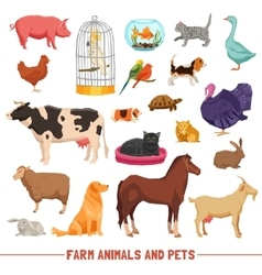 Farm animals and pets set vector
